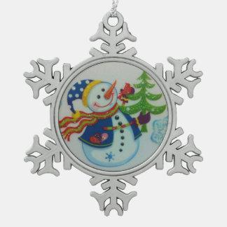 Snowman Pewter Snowflake Decoration