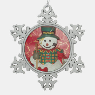 Snowman Pewter Snowflake Ornament