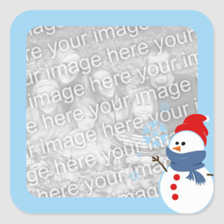 Snowman Photo Square Sticker
