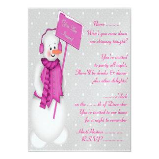 Snowman (pink) - Invitation