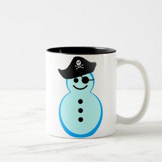 snowman pirate. Two-Tone coffee mug