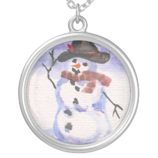 Snowman Playing Dress Up Round Pendant Necklace
