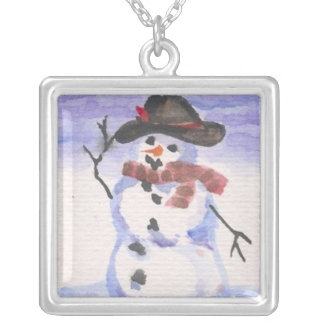 Snowman Playing Dress Up Square Pendant Necklace