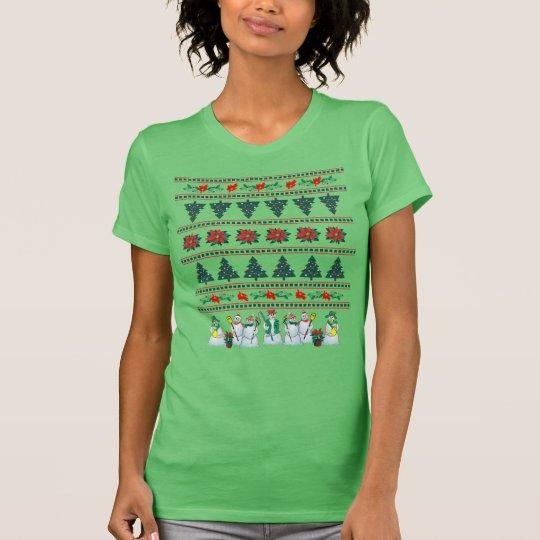 snowman poinsettia holly tree tee shirt