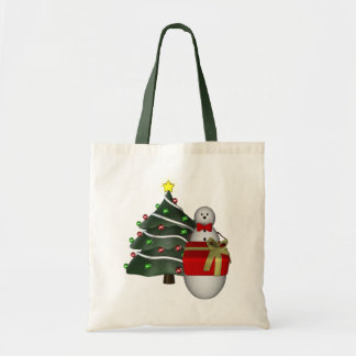 Snowman Present Tree Christmas Holiday Tote Bag