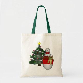 Snowman Present Tree Christmas Holiday Tote Bag
