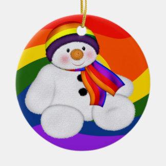 Snowman Pride Round Ceramic Decoration