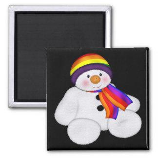 Snowman Pride Square Magnet