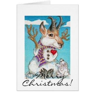 Snowman Pronghorn Antelope and Bunny Card