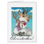 Snowman Pronghorn Antelope and Bunny Greeting Card