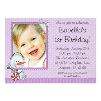 Snowman Purple Winter Photo Birthday Card