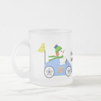 Snowman Race Car Driver Frosted Glass Mug