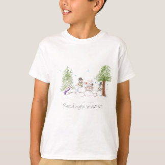 Snowman Reading In Winter Tee Shirt