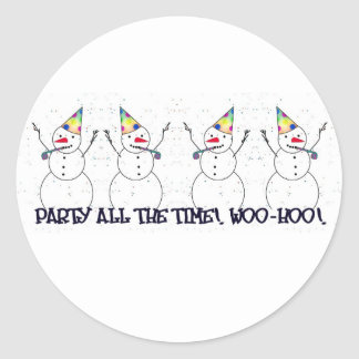 Snowman Ready For A Party! Classic Round Sticker