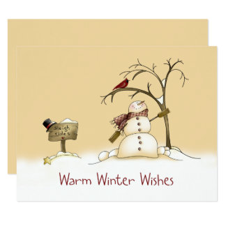 Snowman Red Bird Sleigh Rides Christmas Holidays Card