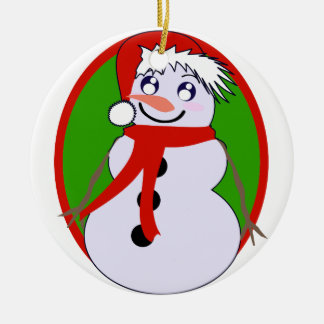Snowman Red & Green Ornament
