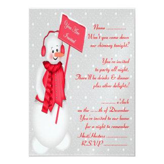 Snowman (red) - Invitation