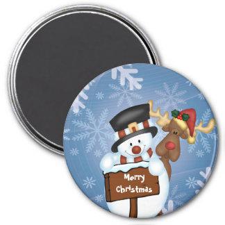 Snowman & Reindeer 7.5 Cm Round Magnet