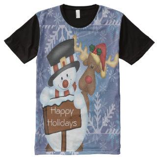 Snowman & Reindeer All-Over Print T-Shirt