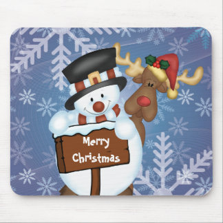 Snowman & Reindeer Customizable Mouse Mat