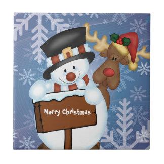 Snowman & Reindeer Customizable Tile