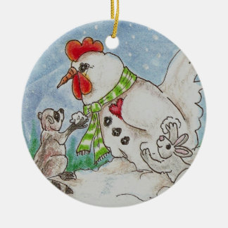 Snowman Rooster, Raccoon and Bunny Wildlife Art Christmas Ornament