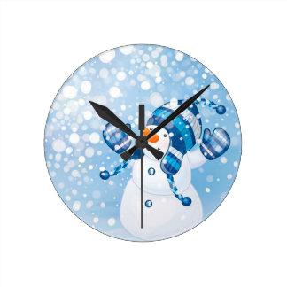 Snowman Round Clock