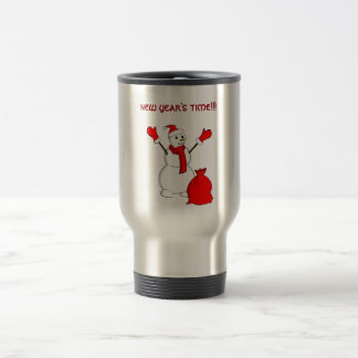 Snowman saying - Party time!!! Stainless Steel Travel Mug