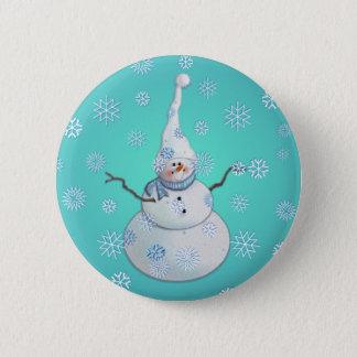 SNOWMAN, SCARF & SNOW HAT by SHARON SHARPE 6 Cm Round Badge