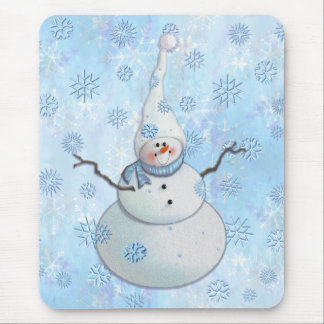 SNOWMAN SCARF SNOW HAT by SHARON SHARPE Mouse Pads