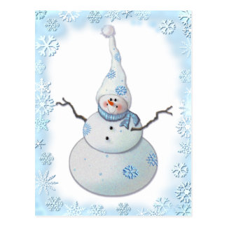 SNOWMAN, SCARF & SNOW HAT by SHARON SHARPE Postcard