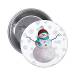 SNOWMAN, SCARF & STOCKING CAP by SHARON SHARPE Pinback Button