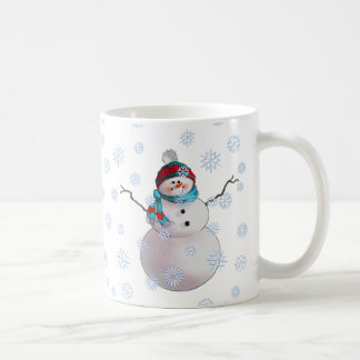 SNOWMAN, SCARF & STOCKING CAP by SHARON SHARPE Coffee Mug
