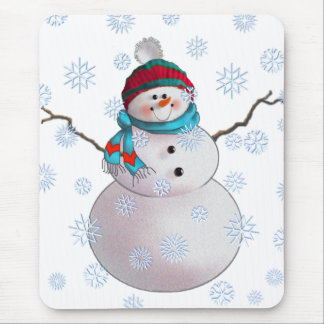 SNOWMAN, SCARF & STOCKING CAP by SHARON SHARPE Mouse Mat