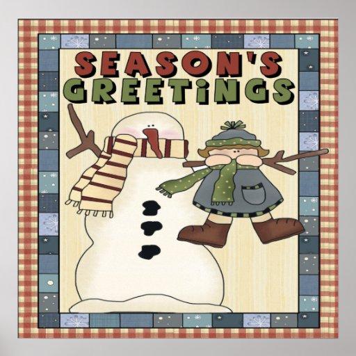 Snowman Seasons Greetings Poster