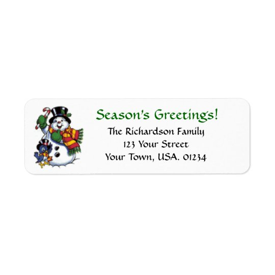 Snowman Seasons Greetings Return Address Labels
