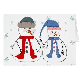 Snowman Siblings Snowmen Children Snow Whimsical Card