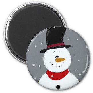 Snowman - Silver 6 Cm Round Magnet