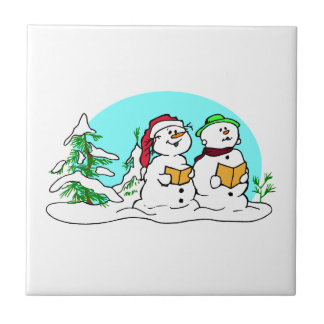 Snowman Singing Christmas Carols Small Square Tile