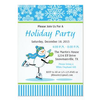 Snowman Skating Holiday Party Invitation