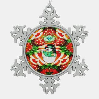Snowman Slam Snowflake Pewter Christmas Ornament