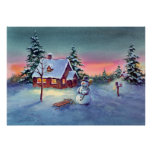 SNOWMAN & SLED by SHARON SHARPE Posters