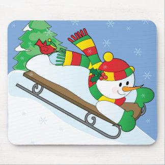 Snowman Sled Mouse Mat
