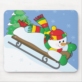 Snowman Sled Mouse Pad