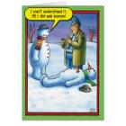 Snowman Sneeze Christmas Humour Greeting Card