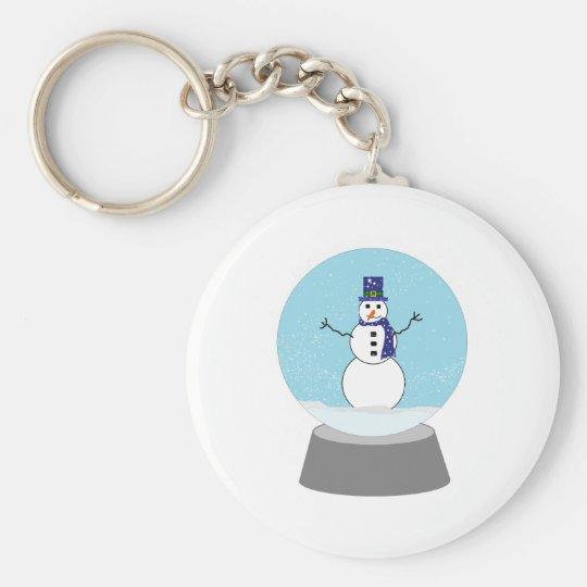 Snowman Snow globe Christmas gifts Basic Round Button Key Ring