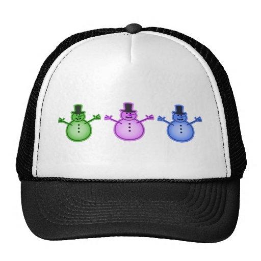 Snowman Snow Man Chill Winter Design Mesh Hats