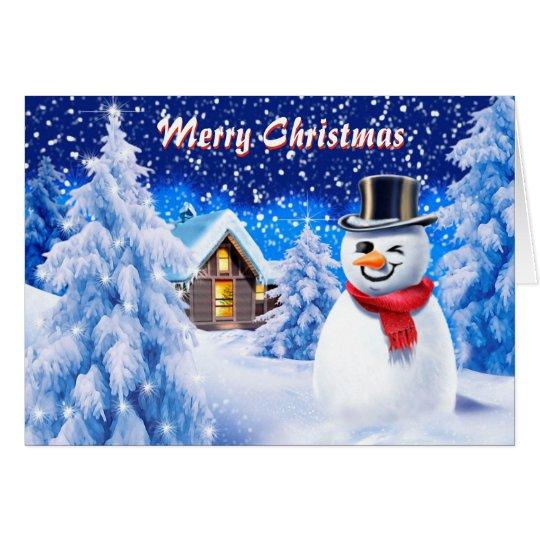 Snowman snow scene cute Christmas note card