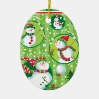 Snowman Snowball Fight Ornament