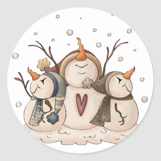 Snowman Snowflake Christmas Country Primitive Classic Round Sticker
